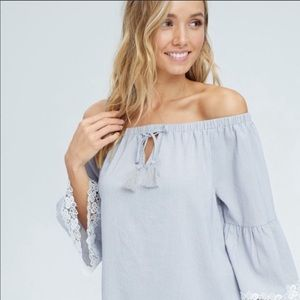 ✨New with Tags Lace Hem Off the Shoulder Top✨